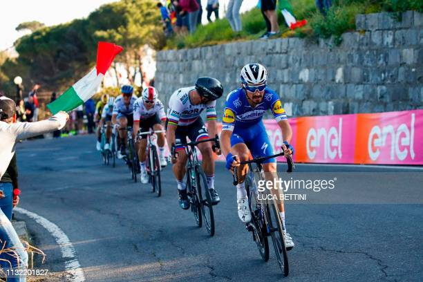 France's Julian Alaphilippe rides in the Poggio ascent during the oneday classic cycling race Milan San Remo on March 23 2019