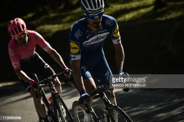 France's Julian Alaphilippe rides on his way to win the one-day classic cycling race Strade Bianche on March 9, 2019 in Siena, Tuscany.