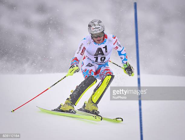 France's Julien Lizeroux races down the course during the men's Slalom on the third day of the famous Hahnenkamm at the FIS SKI World Cup in...