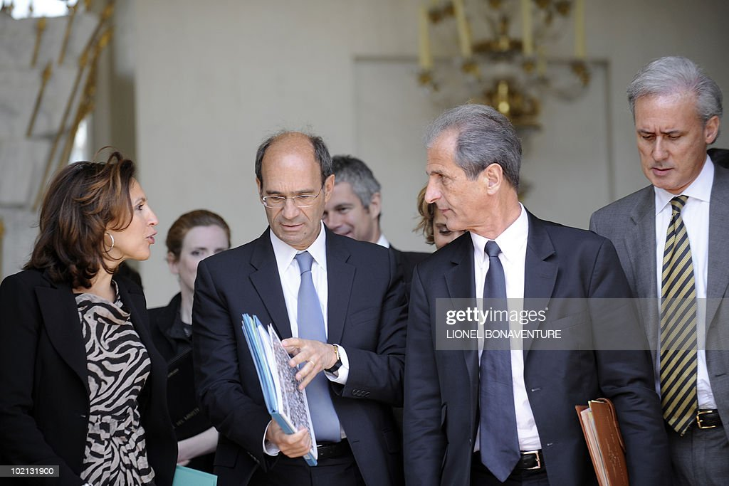 France's Junior minister for Eldery Nora Berra, Labour minister Eric Woerth, Junior Minister for Veterans Hubert Falco and Junior Minister for Public Administration Georges Tron leave the Elysee presidential palace at the end of the weekly cabinet meeting on June 16, 2010 in Paris.