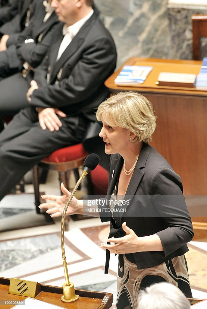 France's Junior Minister for Familly Nadine Morano delivers a speech during the session of questions to the government on May 25, 2010 at the National Assembly in Paris.