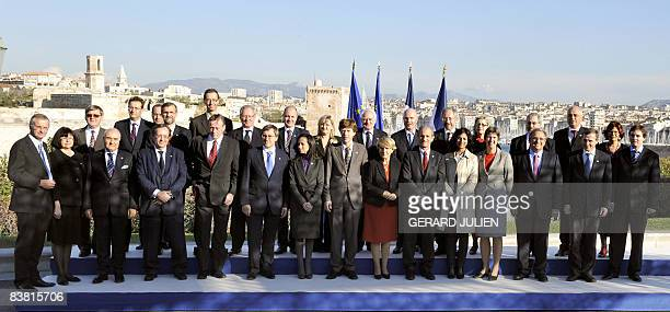 France's Junior Minister for Spatial Planning Hubert Falco and his european counterparts pose for a family picture on November 25 2008 in Marseille...