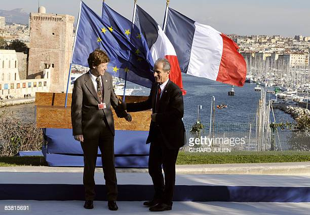 France's Junior Minister for Spatial Planning Hubert Falco and Germany�s Minister of Transport Building and Urban Affairs Engelbert Daldrup arrive...