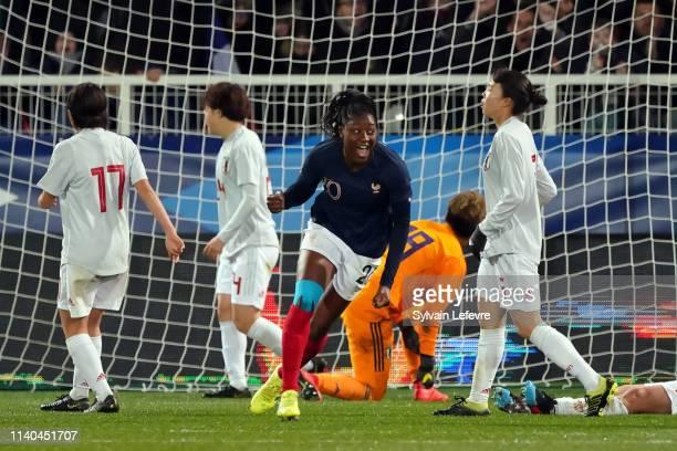 France's Kadidiatou Diani celebrates after scoring goal against Japan during women friendly soccer match France vs Japan at Stade de L'AbbeDeschamps...