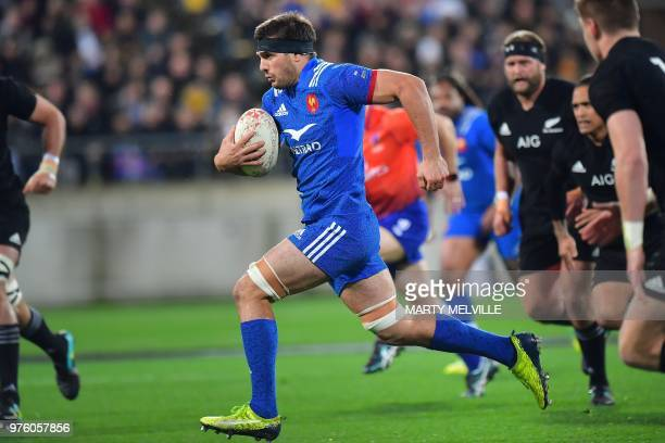 TOPSHOT France's Kelian Galletier advances the ball during the second rugby Test match between New Zealand and France at Westpac Stadium in...