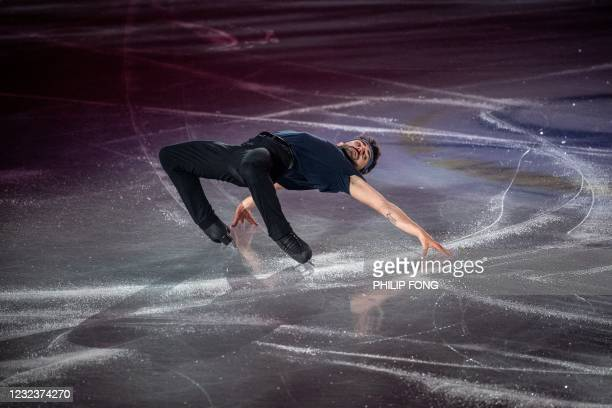 France's Kevin Aymoz performs during the Gala Exhibition event of the ISU World Team Trophy figure skating event in Osaka on April 18, 2021.