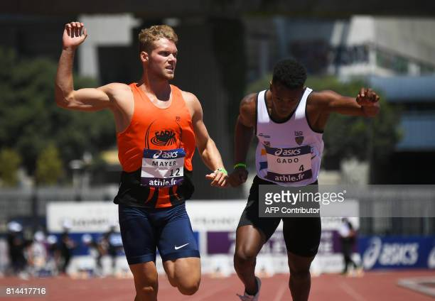 France's Kevin Mayer and Ruben Gado compete in the Men's 100 metres decathlon during the French Athletics Championships Elite in Marseille...