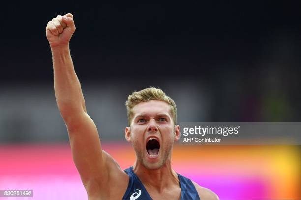 France's Kevin Mayer competes in the men's decathlon high jump athletics event at the 2017 IAAF World Championships at the London Stadium in London...