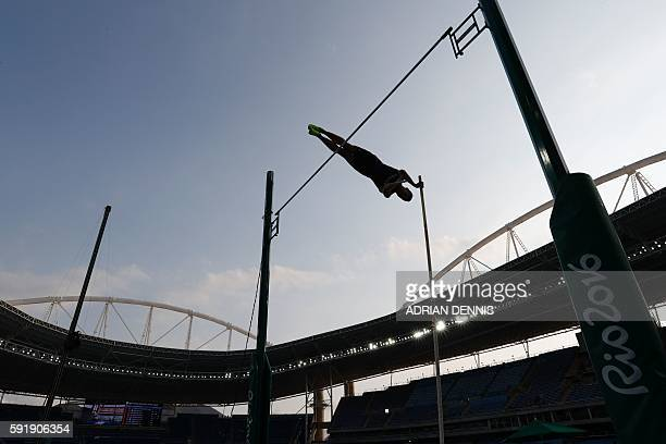 TOPSHOT France's Kevin Mayer competes in the Men's Decathlon Pole Vault during the athletics event at the Rio 2016 Olympic Games at the Olympic...