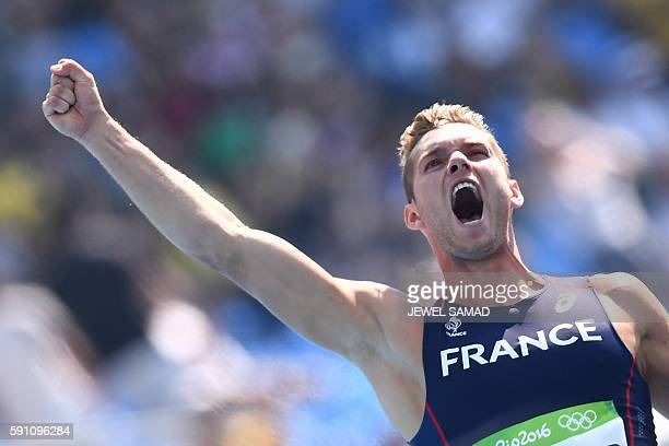 TOPSHOT France's Kevin Mayer reacts after competing in a Men's Decathlon 100m heat during the athletics event at the Rio 2016 Olympic Games at the...