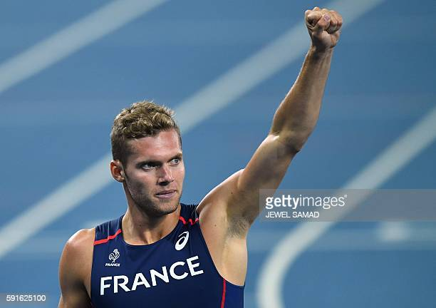 TOPSHOT France's Kevin Mayer reacts after competing in the Men's Decathlon 400m during the athletics event at the Rio 2016 Olympic Games at the...