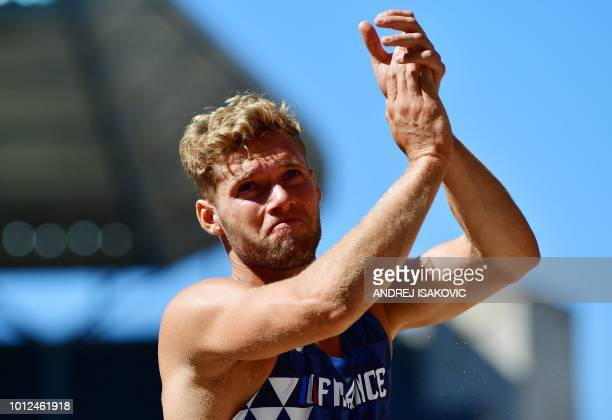 TOPSHOT France's Kevin Mayer reacts after competing in the men's decathlon long jump event during the European Athletics Championships at the Olympic...