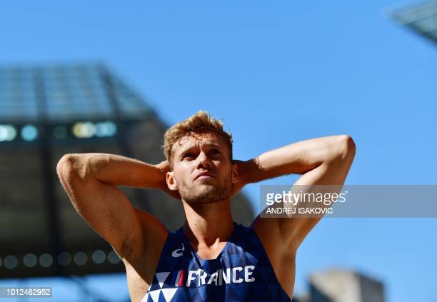 France's Kevin Mayer reacts after competing in the men's decathlon long jump event during the European Athletics Championships at the Olympic stadium...