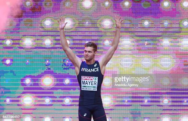 France's Kevin Mayer reacts after the men's long jump of the heptathlon at the European Athletics Indoor Championships in Belgrade Serbia on March 04...