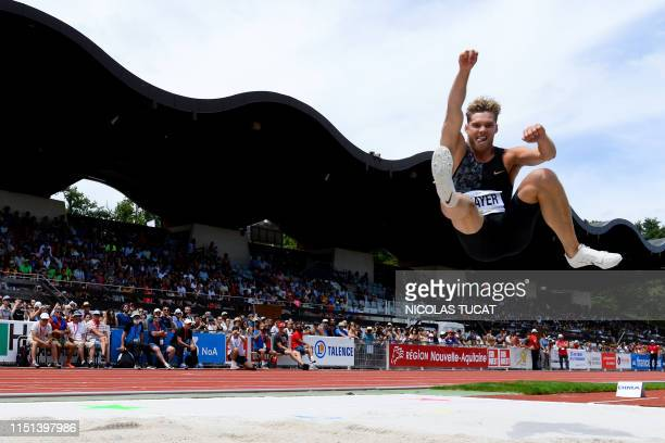 France's Kevin Mayer reacts as he competes in the Men's long jump competition during the IAAF Decastar 2019 Athletics meeting in Talence southwestern...