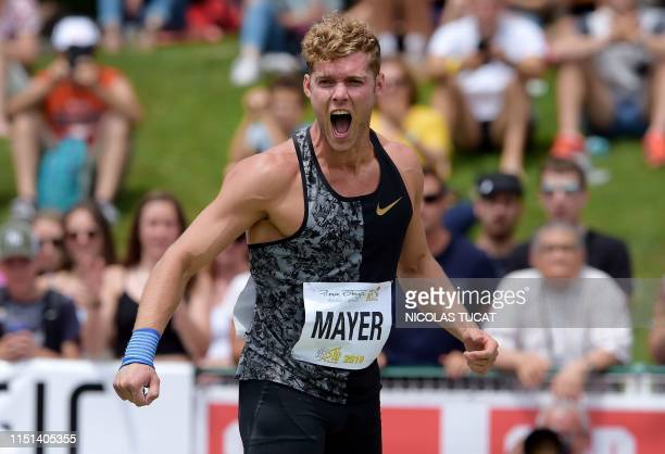 TOPSHOT France's Kevin Mayer reacts during the men's shot put event of the IAAF Decastar in Talence southwestern France on June 22 2019