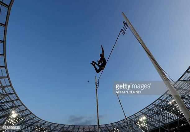 TOPSHOT France's Kevin Menaldo competes in the men's pole vault event at the IAAF Diamond League Anniversary Games athletics meeting at the Queen...