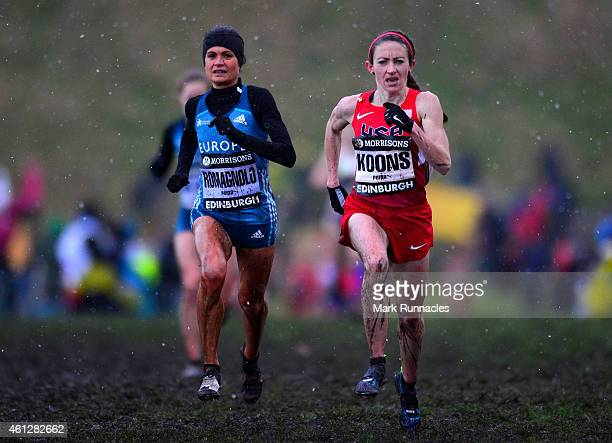 Frances Koons of USA and Elena Romagnolo of Team Europe race for the finish line while competing in the senior womens 6K during the Great Edinburgh X...