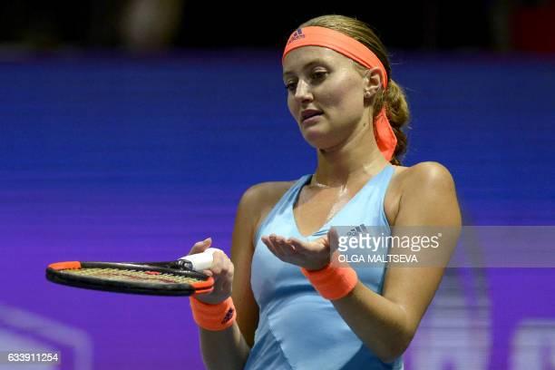 France's Kristina Mladenovic reacts during the final match against Kazakhstan's Yulia Putintseva during the WTA Saint Petersburg Ladies Trophy 2017...