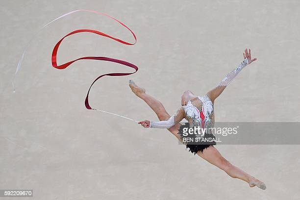 TOPSHOT France's Kseniya Moustafaeva competes in the individual allaround qualifying event of the Rhythmic Gymnastics at the Olympic Arena during the...