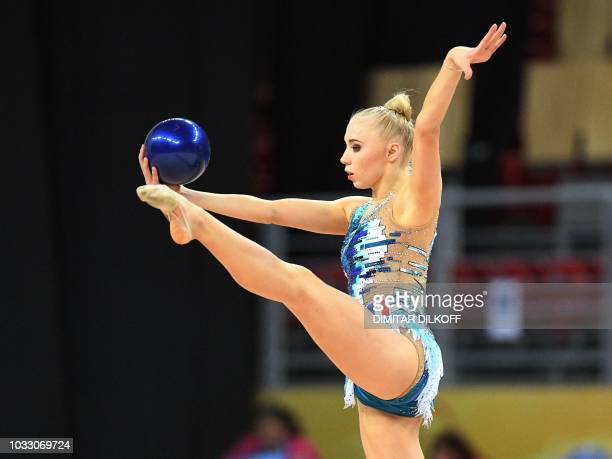 France's Kseniya Moustafaeva performs during the individual allaround final at the World Rhythmic Gymnastics Championships at Arena Armeec in Sofia...
