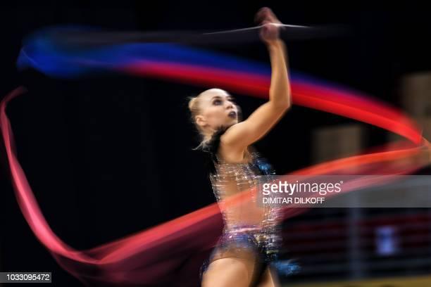 France's Kseniya Moustafaeva performs during the individual allaround final at the World Rhythmic Gymnastics Championships at Arena Armeec in Sofia...