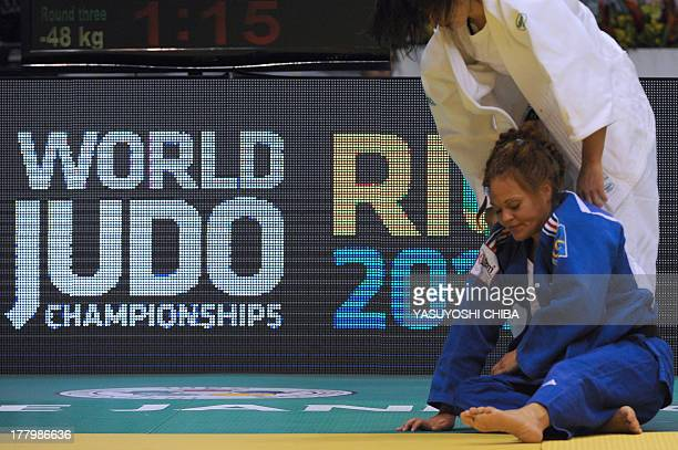 France's Laetitia Payet competes with Turkey's Ebru Sahin in the Women's 48kg category of the IJF World Judo Championship in Rio de Janeiro Brazil on...