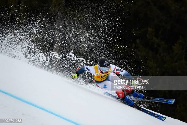 France's Laura Gauche competes during the women's Super-G event at the FIS Alpine Ski World Cup Combined in Crans-Montana on February 23, 2020.
