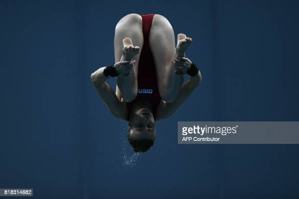 France's Laura Marino competes in the 3m/10m team event during the diving competition at the 2017 FINA World Championships in Budapest on July 17...