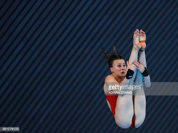 France's Laura Marino competes in the Diving Women's 10m Platform Final at the European Aquatics Championships in London on May 13 2016 / AFP /...
