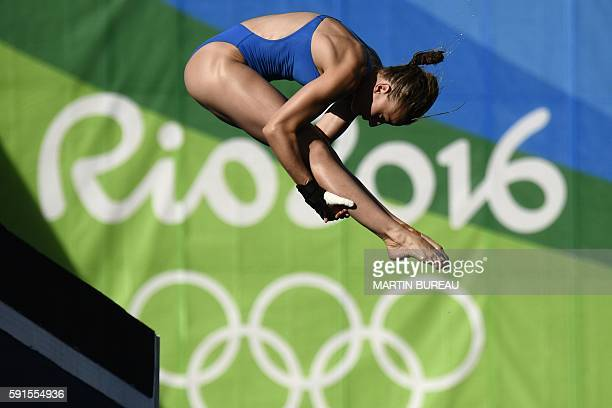 France's Laura Marino competes in the Women's 10m Platform Preliminary at the diving event at the Rio 2016 Olympic Games at the Maria Lenk Aquatics...