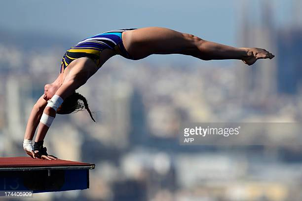 France's Laura Marino competes in the women's 10metre platform final diving event in the FINA World Championships at the Piscina Municipal de...