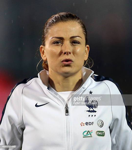 France's Laure Boulleau looks on prior to the womens Euro 2017 qualifying football match between Albania and France at the Qemal Stafa stadium in...