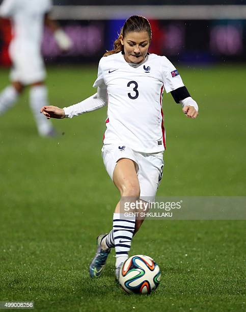 France's Laure Boulleau runs with the ball during the womens Euro 2017 qualifying football match between Albania and France at the Qemal Stafa...