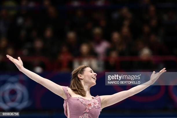 France's Laurine Lecavelier performs on March 21 2018 during the Ladies figure skating short program at the Milano World League Figure Championship...