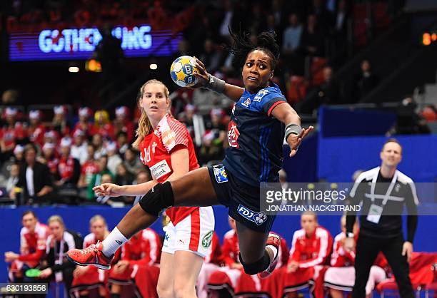 TOPSHOT France's Laurisa Landre prepares to throw the ball during the Women's European Handball Championship bronze medal match between Denmark and...