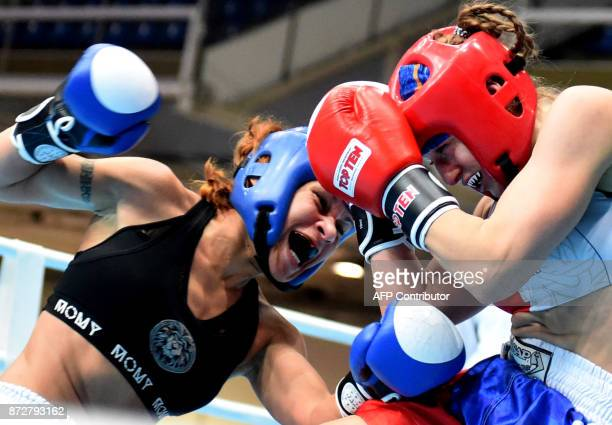 TOPSHOT France's Lelo Page fights with Czeck Republic's Sandra Maskova in the 'Women K1 56kg category' in the 'BOK' sports hall in Budapest on...