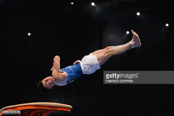 France's Leo Saladino competes in the Men's vault qualifications during European Artistic Gymnastics Championships at the St Jakobshalle, in Basel,...