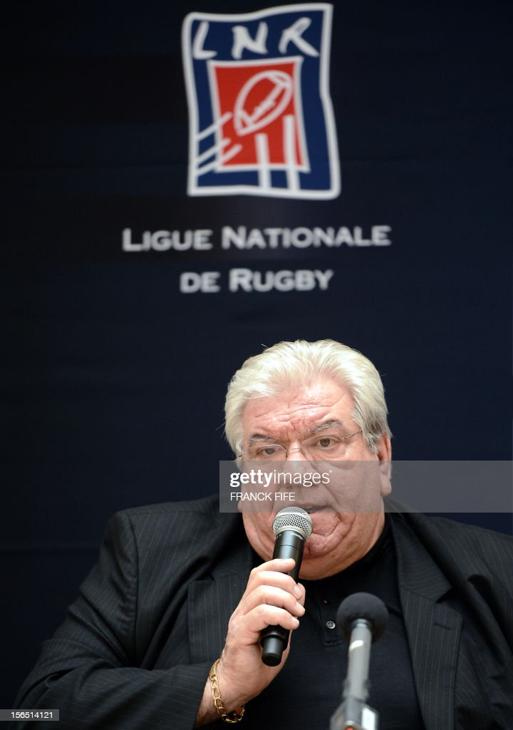 France's Ligue Nationale de Rugby (French national rugby league, LNR), newly elected president Paul Goze (C) speaks during a press conference on November 16, 2012 in Paris, after his nomination. Paul Goze succeeds to Pierre-Yves Revol .