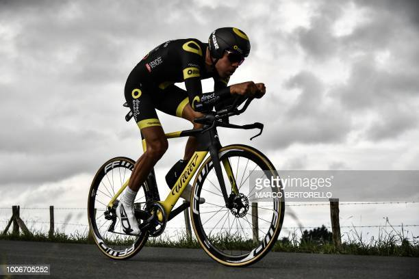 France's Lilian Calmejane rides during the 20th stage of the 105th edition of the Tour de France cycling race a 31kilometer individual timetrial...