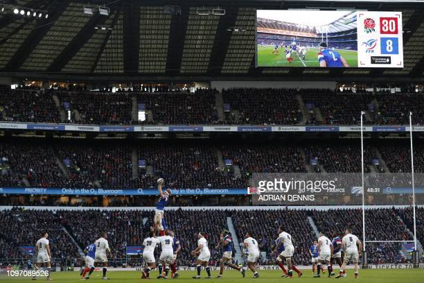 TOPSHOT France's lock Felix Lambey claims lineout ball during the Six Nations international rugby union match between England and France at...