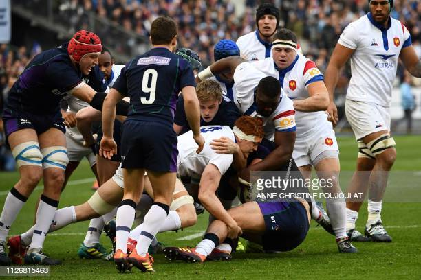 France's lock Felix Lambey vies for the ball during the Six Nations rugby union tournament match between France and Scotland at the Stade de France...