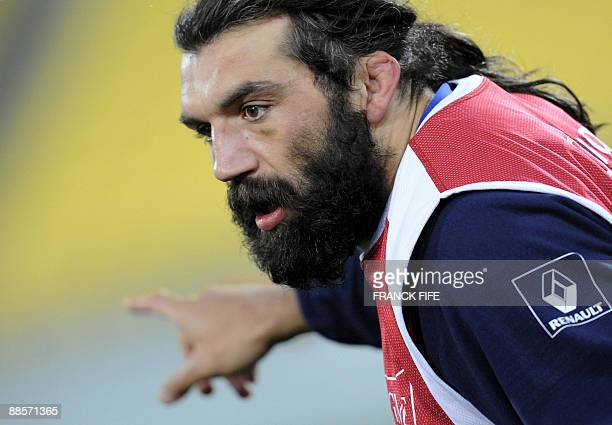 France's lock Sebastien Chabal gestures during a training session at the Westpac Stadium in Wellington on June 19 2009 France on June 17 made three...