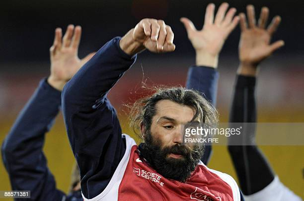 France's lock Sebastien Chabal jumps for the ball during a training session at the Westpac Stadium in Wellington on June 19 2009 France on June 17...