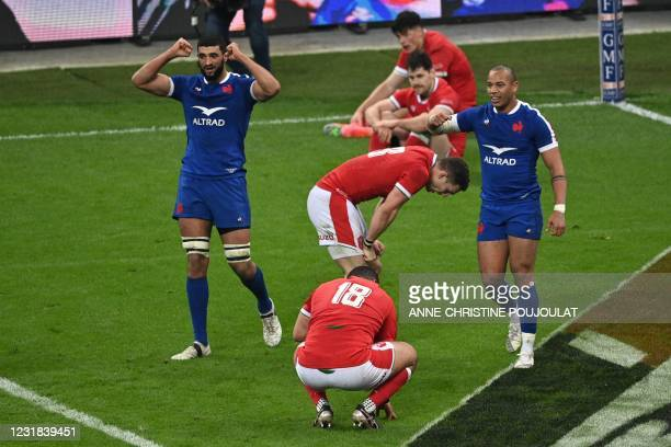 France's lock Swan Rebbadj anmd France's centre Gael Fickou celebrate after scoring the winning try during the Six Nations rugby union tournament...