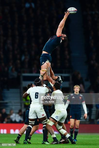 France's lock Yoann Maestri misses the ball from a line out during the Six Nations international rugby union match between England and France at...