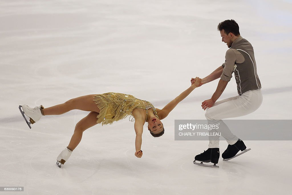 France's Lola Esbrat and Andre...