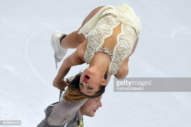 France's Lola Esbrat and Andrei Novoselov compete in the pairs' free skating at the ISU European Figure Skating Championships in Moscow on January...