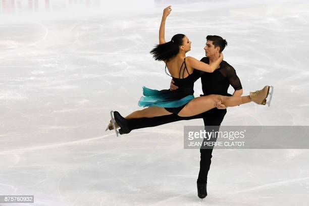 France's Lorenza Alessandrini and Pierre Souquet perform during the Ice Dance Free Dance during the Internationaux de France ISU Grand Prix of Figure...