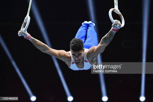 France's Loris Frasca competes in the Men's rings qualifications during European Artistic Gymnastics Championships at the St Jakobshalle, in Basel,...